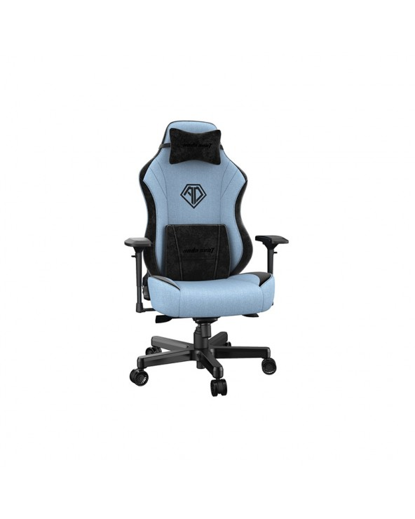 Anda Seat Gaming Chair AD18 T-PRO Light Blue - Black Fabric with Alcantara Stripes by DoctorPrint